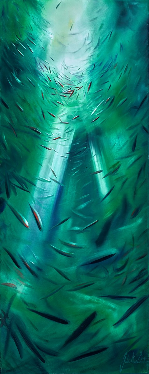 Fish Green by julie ann scott -  sized 16x40 inches. Available from Whitewall Galleries